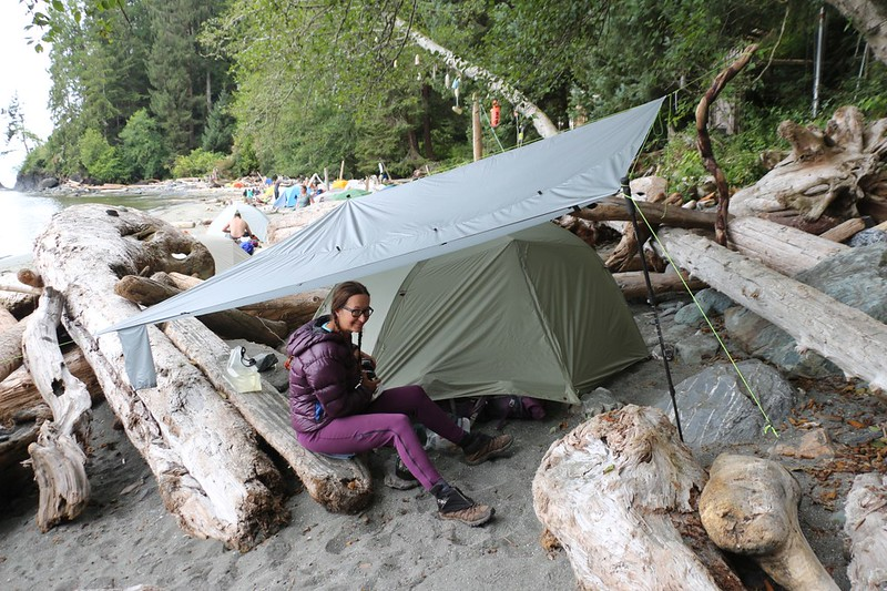 It was supposed to rain that night so Vicki set up our 10'x10' tarp over the tent in proper PNW style