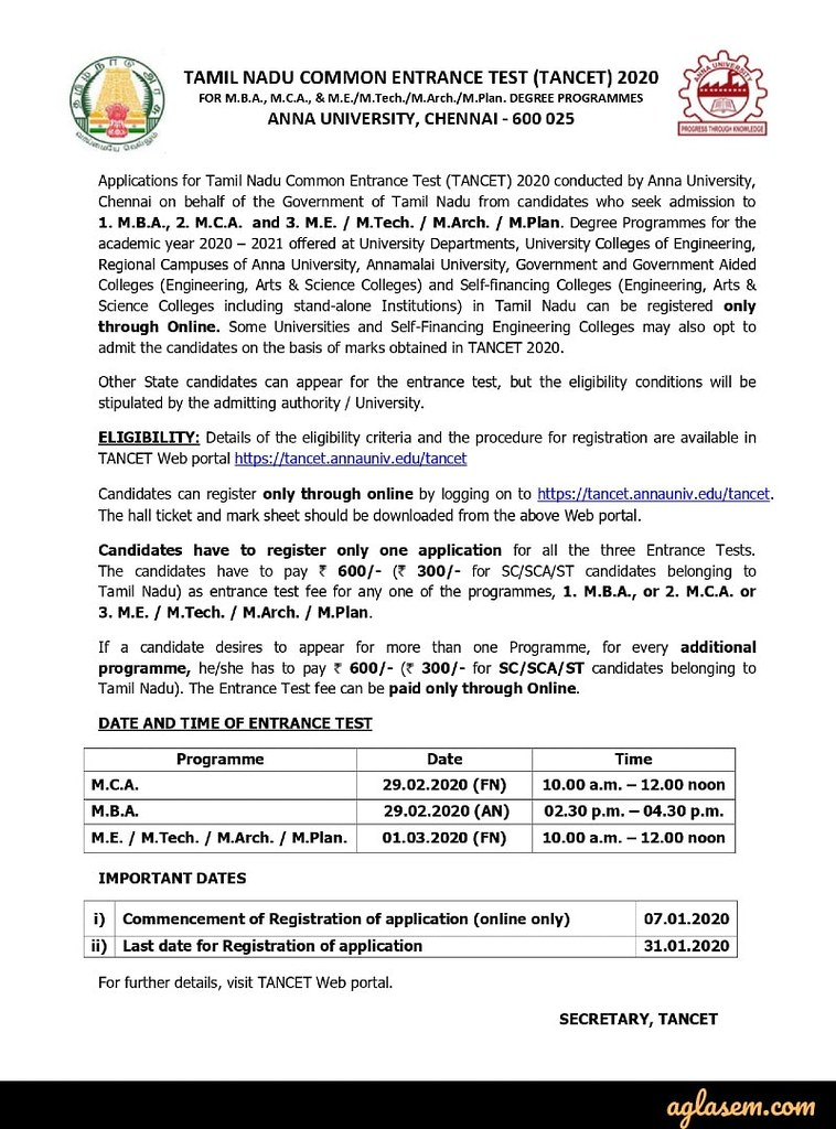TANCET 2020 admission notice