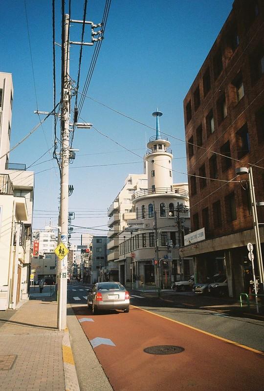 Ricoh GR1s+KodaK Ultramax400偽 東京いい道 しぶい道 三田聖坂 二本榎通り 高輪消防署二本榎出張所の独特の火の見やぐら