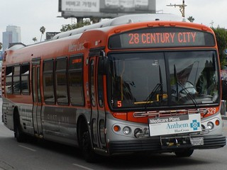 LACMTA Metro Local NABI CNG C45-LFW Cleaned Compressed Natural Gas North American Bus Industries Low Floor Wide Compobus Composite Transit Bus Number 8529 Control Reference ID Run Trip Number Code 5 Route 28 Eastbound Colorado Blvd. originated from