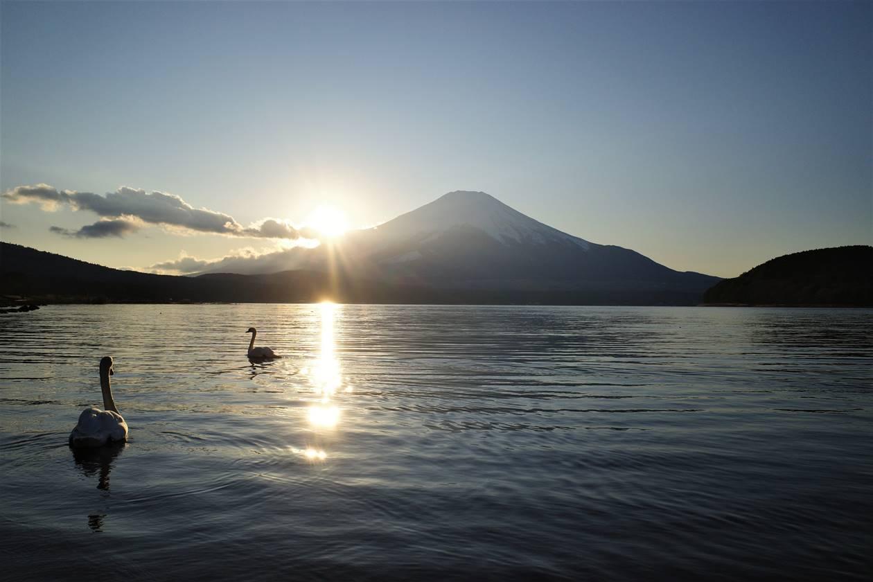 山中湖から眺める夕日と富士山