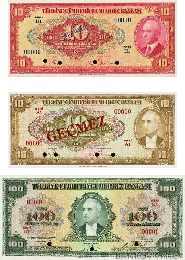 10+10+100 Lira Turecko 1947-48 P147-149 - REPRODUKCIE