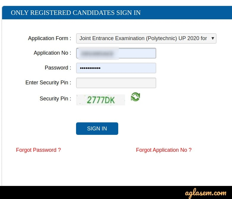 JEECUP 2020 form correction login