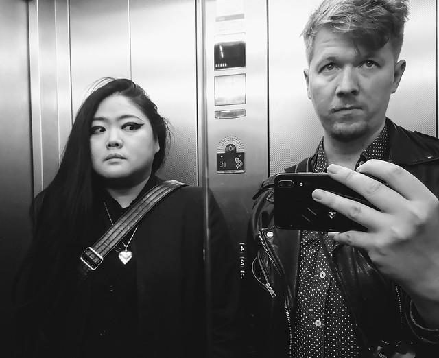 Lift mirror selfie