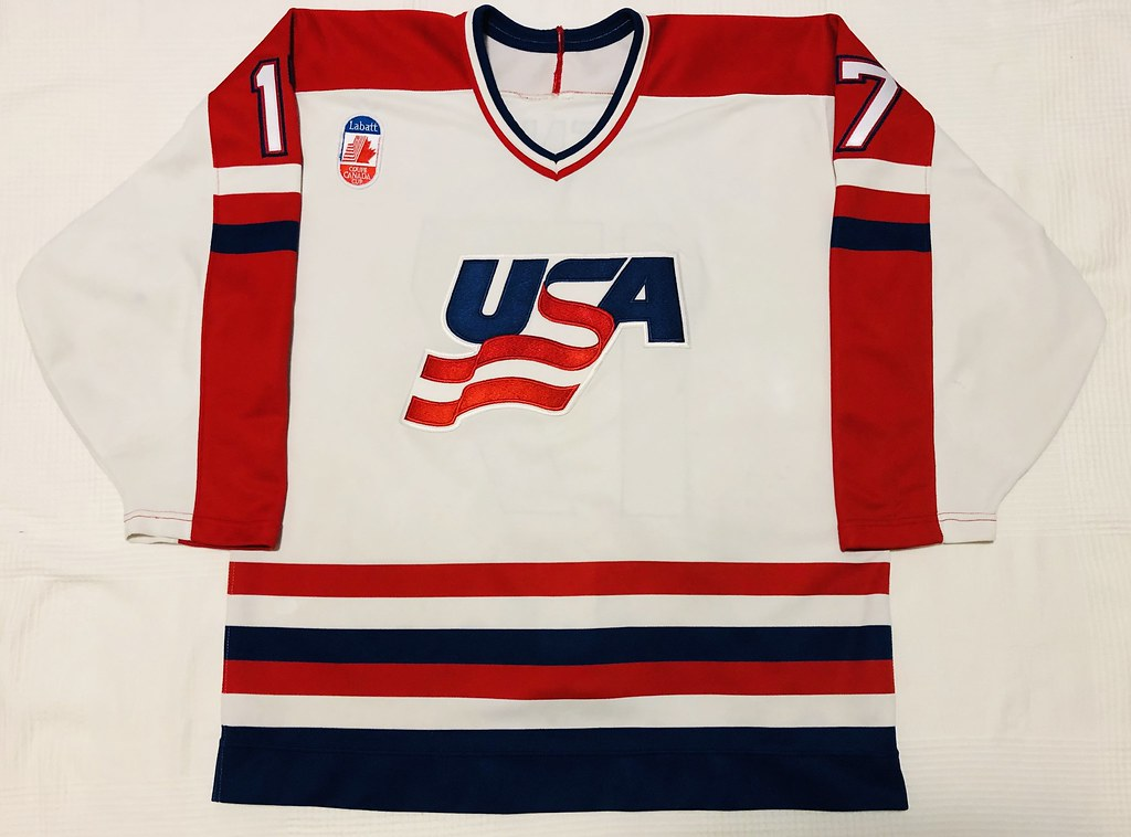 1991 Jeremy Roenick Canada Cup Team USA Jersey Front