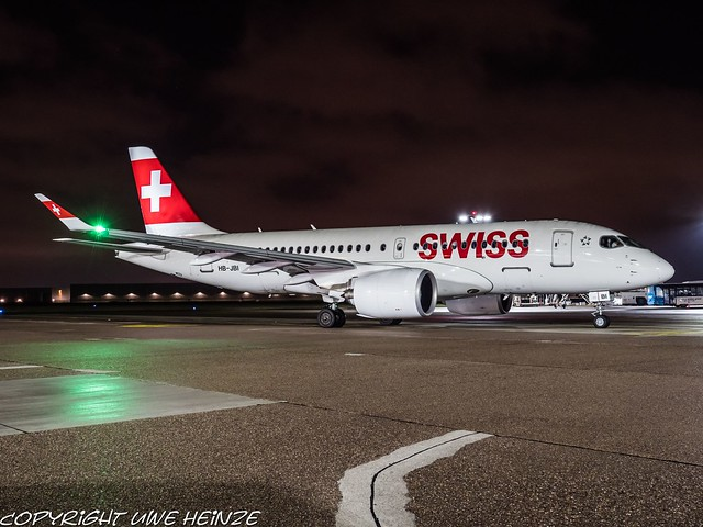 Swiss HB-JBI HAJ at Night