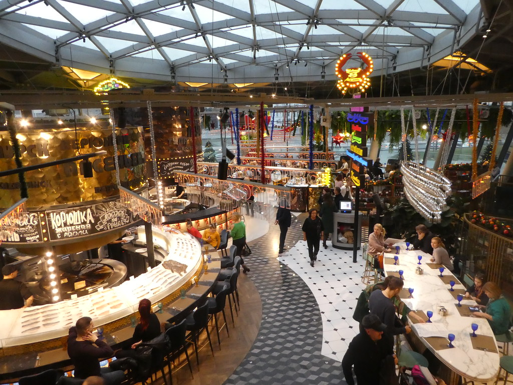 The Market Hall Food Court in Zaradaye Park, Moscow