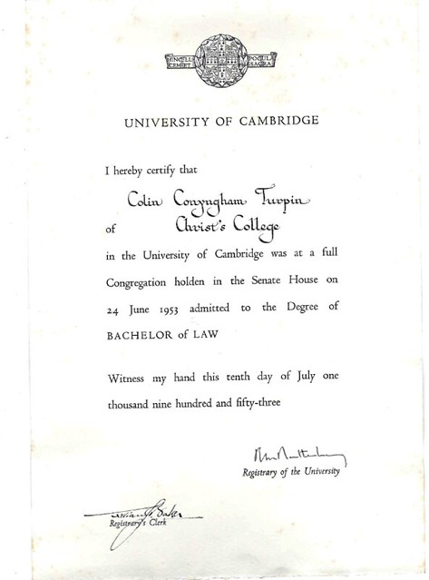 Mr Colin Turpin Degree Certificates