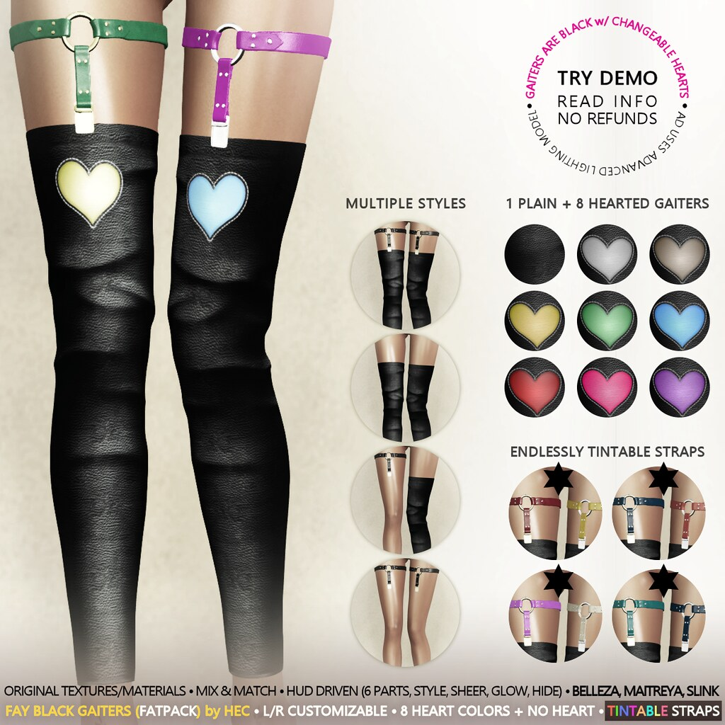 HEC (Event Exclusive) • FAY LOVE Thigh High Strapped Gaiters BLACK FATPACK