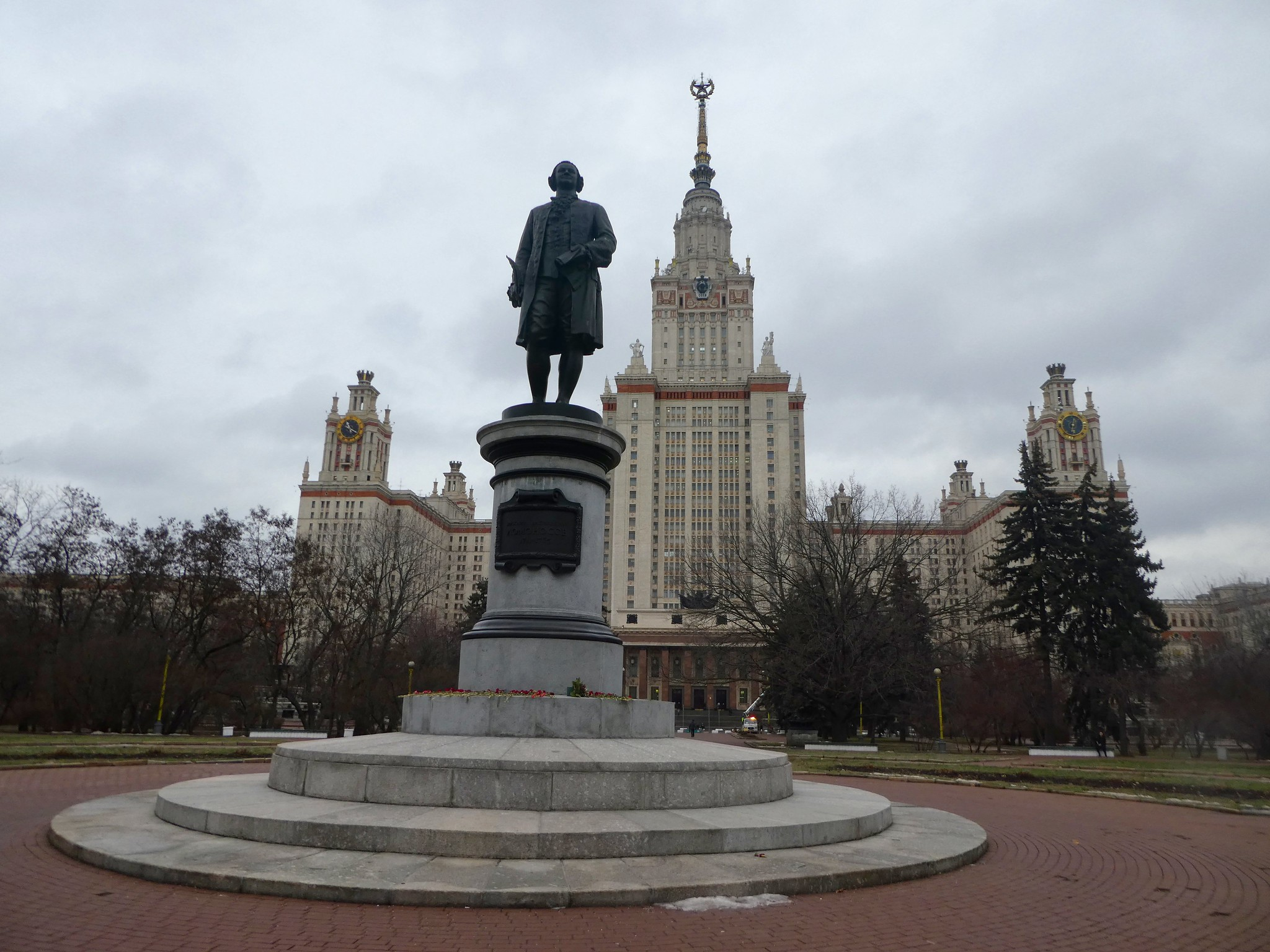 Statue of Mikhail Lomonosov in front of Moscow State University