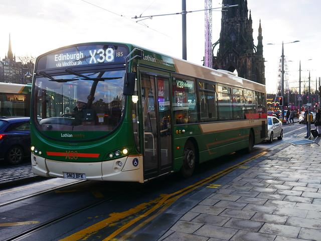 Lothian Country Buses Volvo B7RLE Wright Eclipse 2 SN13BFK 185, operating service X38 to Edinburgh at Princes Street, Edinburgh, on 30 December 2019.