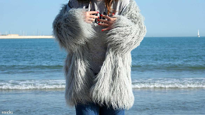 Chaqueta de pelo gris de AliExpress mujer