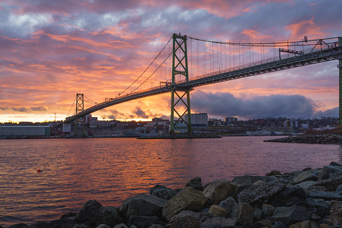 macdonaldbridge bluehour sunset rocks bridge halifaxbridges water ns halifax novascotia hhb clouds halifaxharbour
