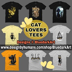 :heart_eyes_cat: #Cat #Lovers #Tshirts :point_right: www.designbyhumans.com/shop/BluedarkArt :star2:#Design :copyright: #BluedarkArt #TheChameleonArt