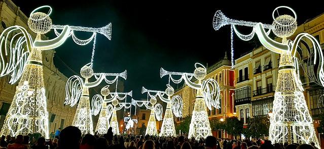 Luces de navidad de la plaza San Francisco, Sevilla, 2020
