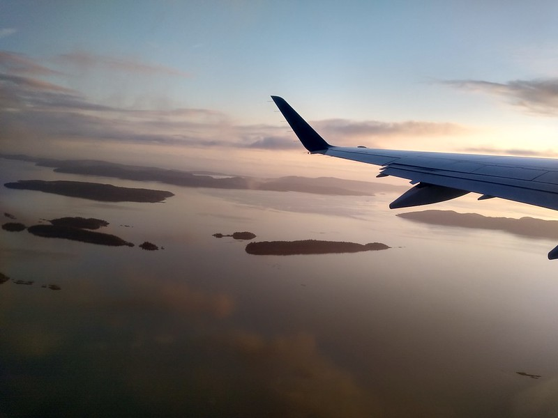 View from the airplane as we fly back home to San Diego at dawn - Good-Bye West Coast Trail!