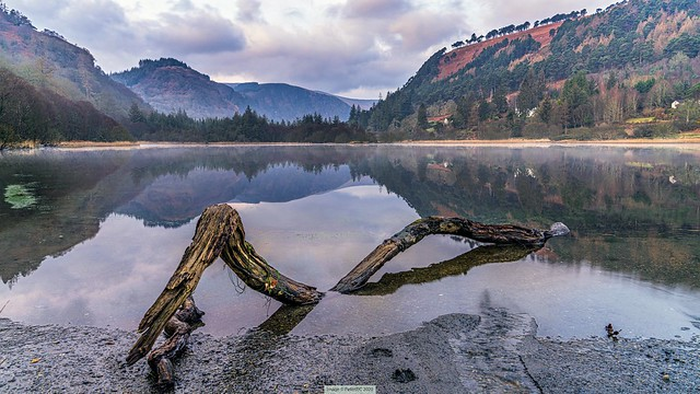 Glendalough lower lake on New Year's Day, Wicklow, Ireland.