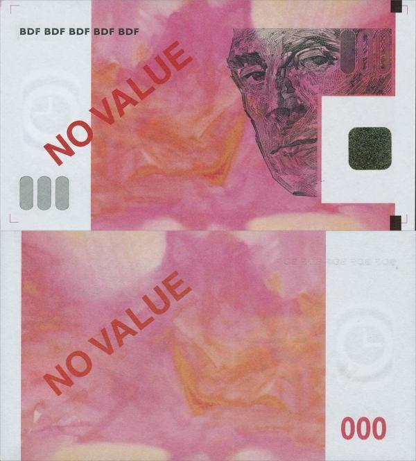 BANQUE DE FRANCE, No Value, testovacia bankovka