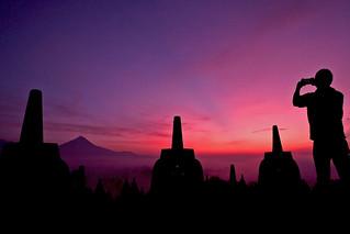 Sunrise at Borobudur temple near Yogyakarta. Java, Indonesia.