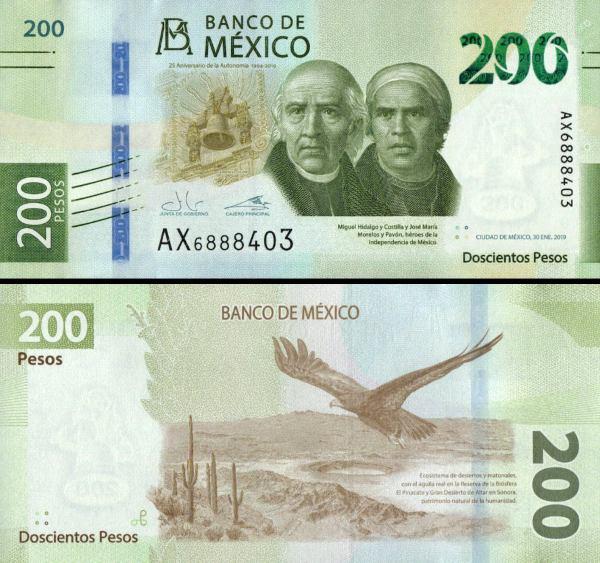 200 Pesos Mexiko 2019, polymer P132 pamätná