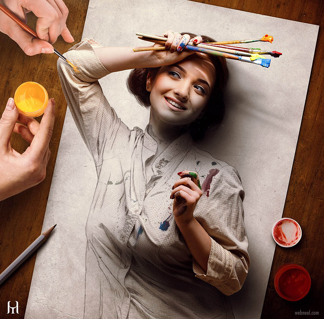 Photo Manipulation Self Portrait Painting