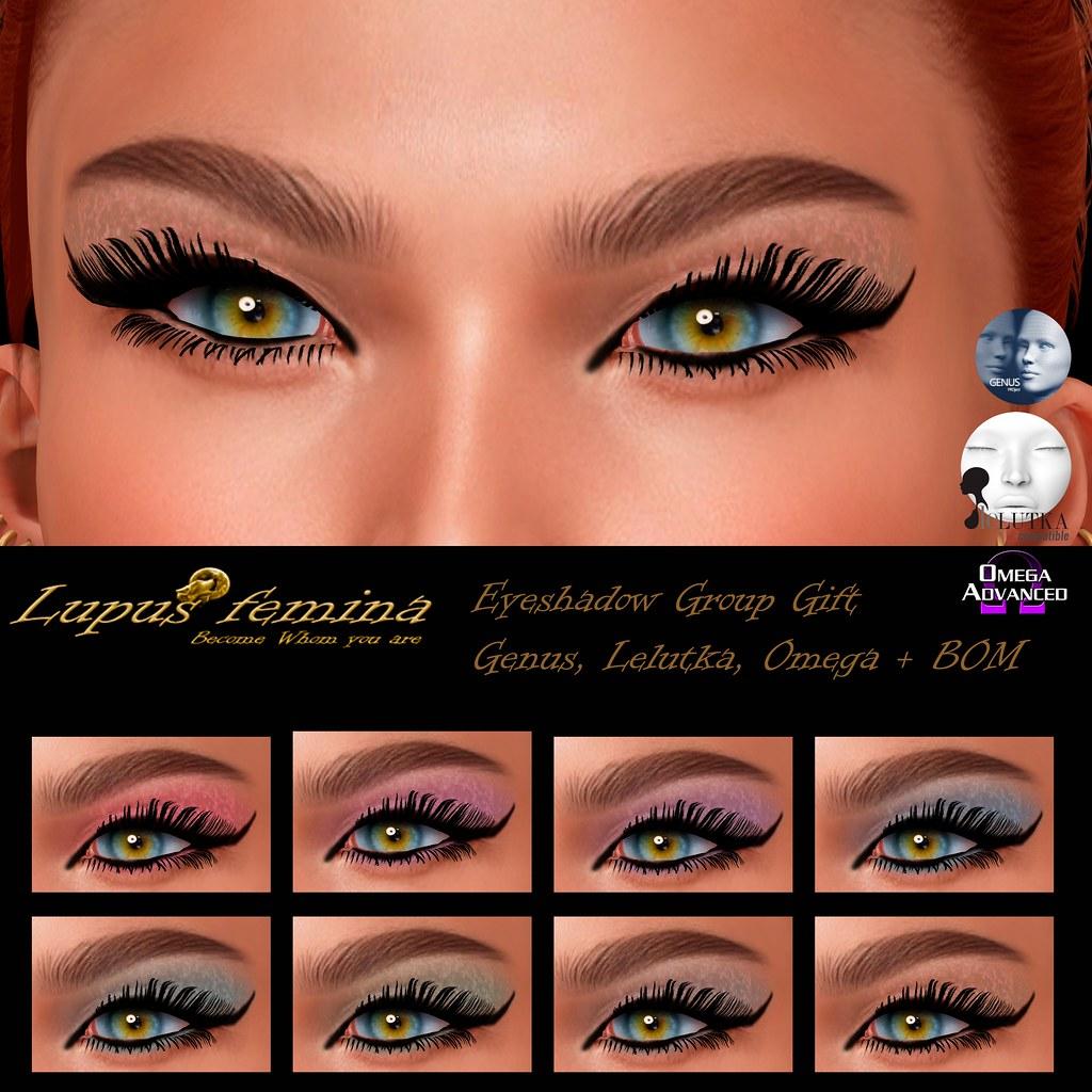 """""""Lupus Femina"""" Eyeshadows Group Gift – Genus Lelutka/ Omega + Bom"""