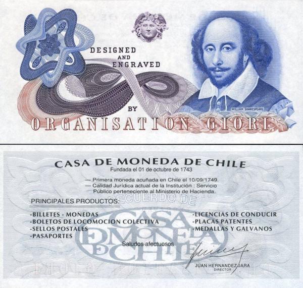 CASA DA MONEDA DE CHILE,Shakespeare - Giori, testovacia bankovka