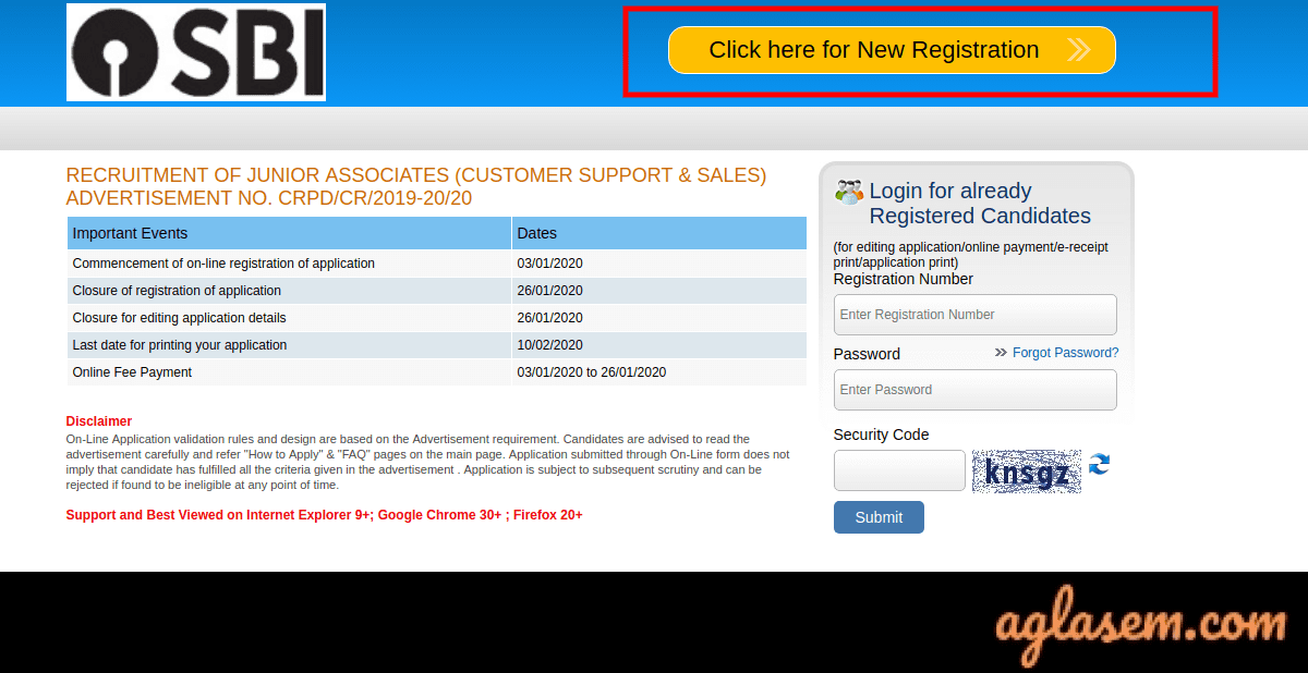 sbi application form for clerk 2014