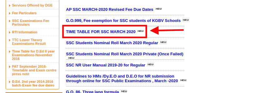 AP SSC Time Table 2020 - Cancelled!!