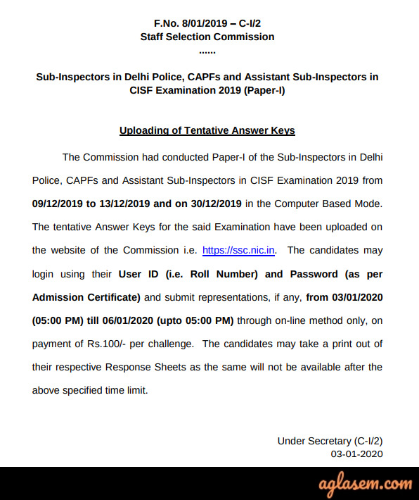 SSC CPO Answer Key SSC CPO Answer Key 2020: Get SSC SI Answer Key for all dates, all shifts