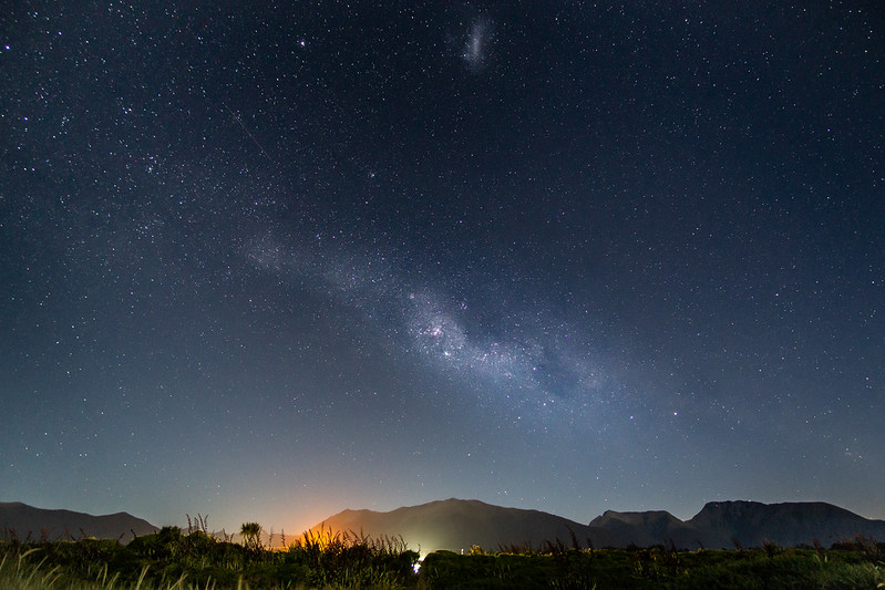 Milky Way and Magellanic Cloud in Haast, New Zealand