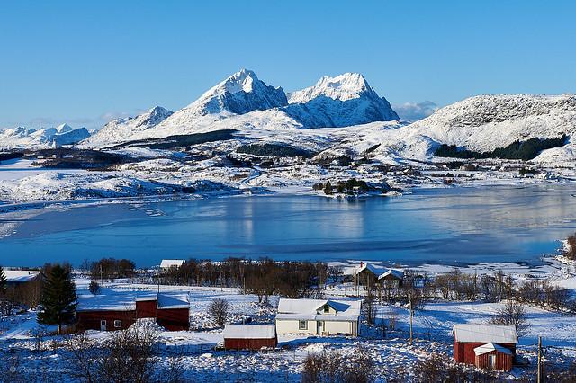 Winter Lofoten on a sunny day