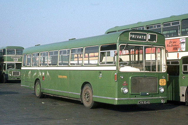 Eastern National Omnibus Company . 1500 CVW854G . Basildon Garage Yard , Essex . October-1969 .