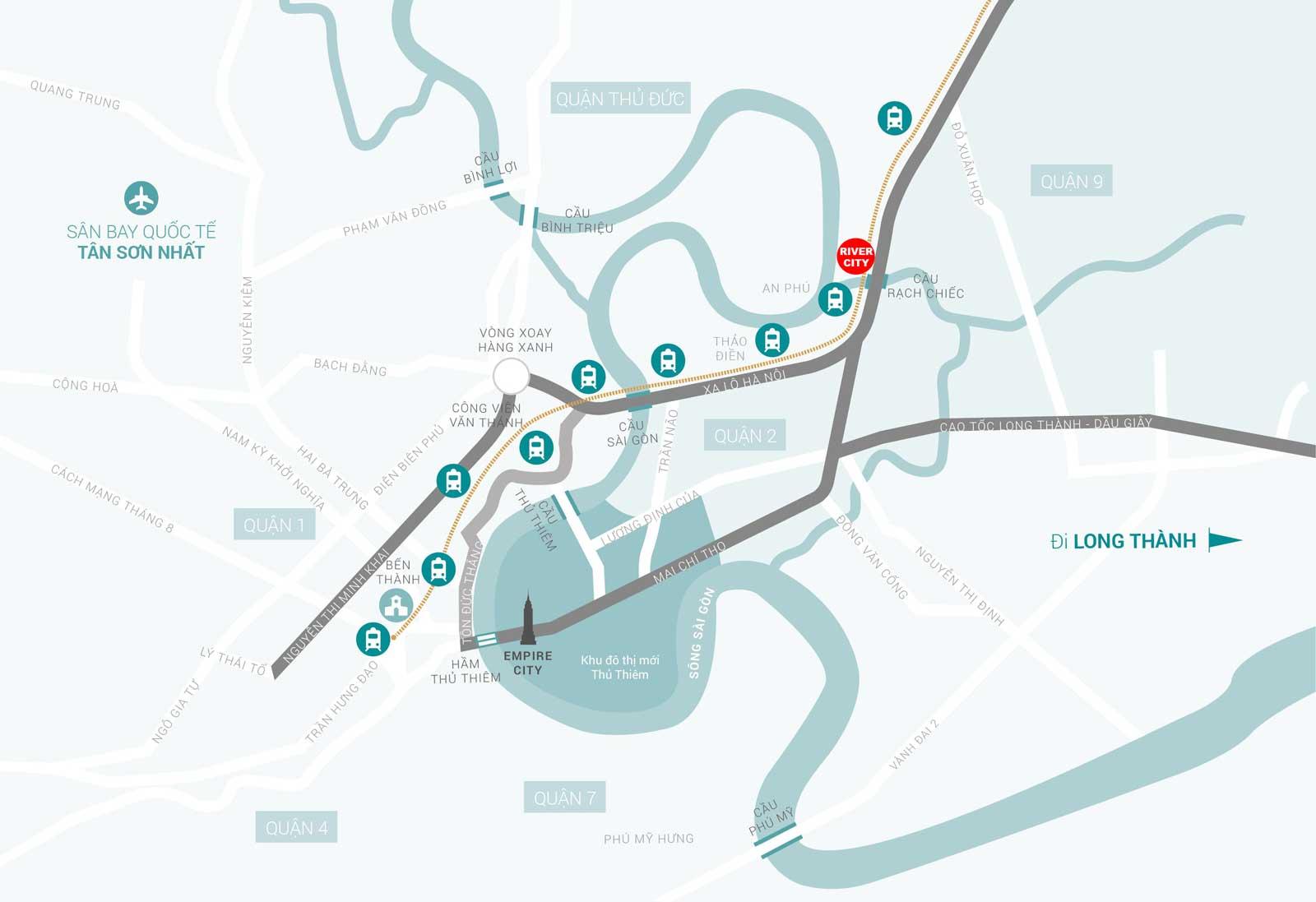 Vị trí dự án khu đô thị ven sông đẳng cấp River City Thủ Đức