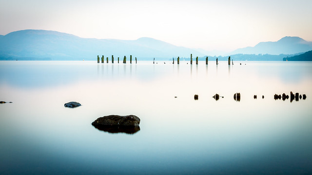 Old Jetty remains at Loch Lomond Shores