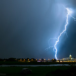 31. August 2019 - 21:12 - At that very moment, high winds made it difficult to shoot good pictures. Even one of my tripods was blown aside.  But just before the rain set in, this great branched lightning strike hit the earth, just behind the bridge over the river IJssel in Deventer, Netherlands.