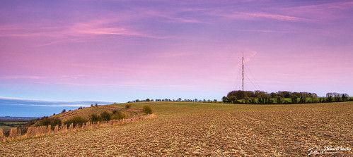 pinksky transmitter colorefexpro4 landscape sunset nikfilters winter field hampshire kinsclere fence mast uk whitehill dusk
