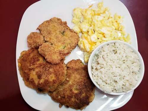 Salmon Croquettes, Brown Rice, Scrambled Eggs
