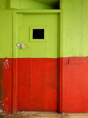 Bright green & red door in Manzanillo, Mexico