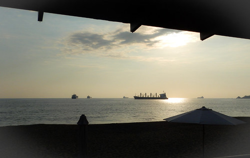 A view of the bay and tankers from our hotel in Manzanillo, Mexico
