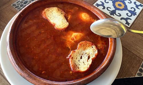 Red garlic soup (sopa de ajo) castellano-style in Manzanillo, Mexico
