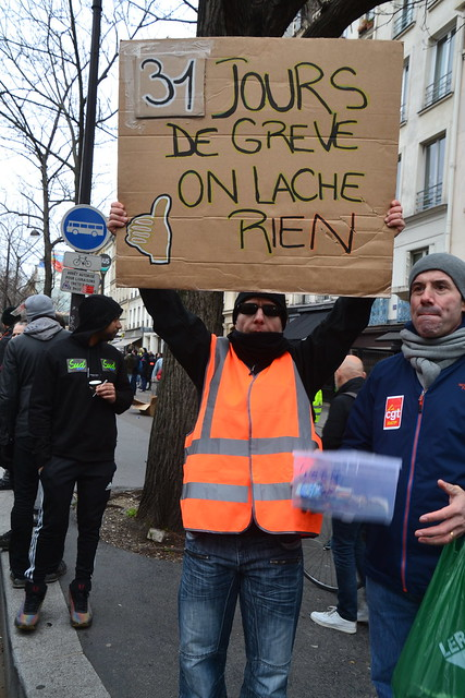 On strike for the past 31 days (subway and railway men)