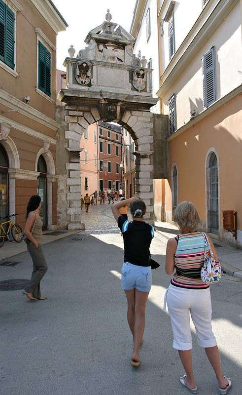 Photographing Balbi Gate, Rovinj, Croatia