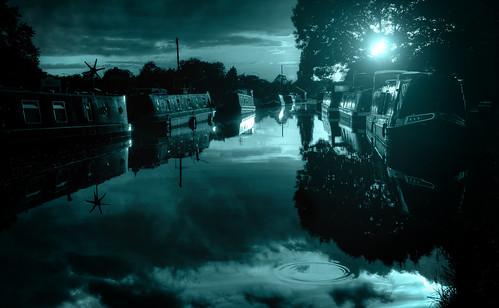 moon fauxmoon fauxnight hdr dark river canal still calm
