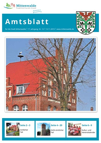 Amtsblatt Mittenwalde: Titelseite November 2019