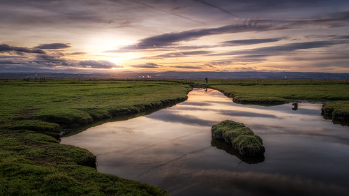 marsh sunset neston salt marshes reflection photographer cheshire wirral england north west