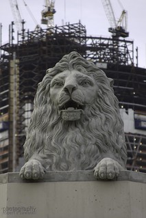 original lions with the bow tower being built in the b/g