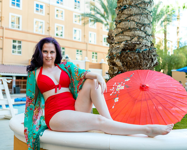 Red Parasol and Vintage Red Bikini