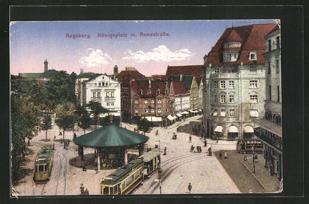 0 1943 AK-Augsburg-Koenigsplatz-mit-Annastrasse-und-Strassenbahnen