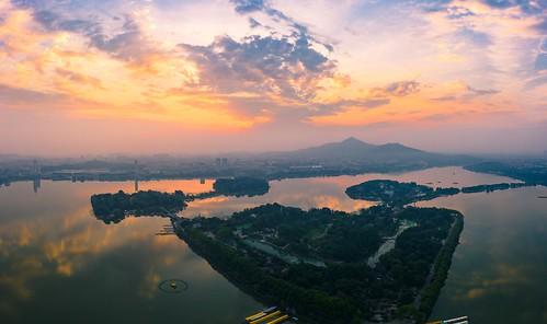nanjing jiangsu peoplesrepublicofchina aerial drone sunrise dawn lake island mountain sky cloud hdr summer